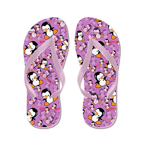Cafepress Penguins Flip Flops - Flip Flops, Roliga Rem Sandaler, Strand Sandaler Rosa