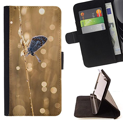 God Garden - FOR Apple Iphone 6 - Nature Butterfly Bokeh - Glitter Teal Purple Sparkling Watercolor Personalized Design Custom Style PU Leather Case Wallet Fli
