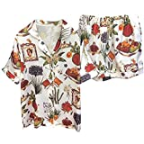 Jahurto Vintage Floral Turn-Down Collar Short Sleeve Blouse+Loose Shorts Sleepwear (Color : White, Size : M)
