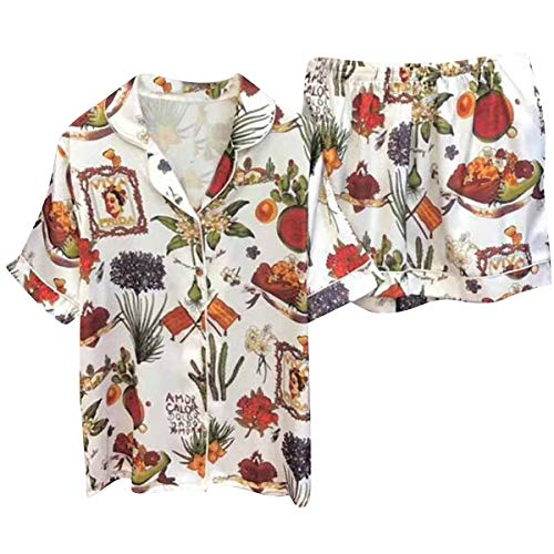 Jahurto Vintage Floral Turn-Down Collar Short Sleeve Blouse+Loose Shorts Sleepwear (Color : White, Size : M) by Jahurto
