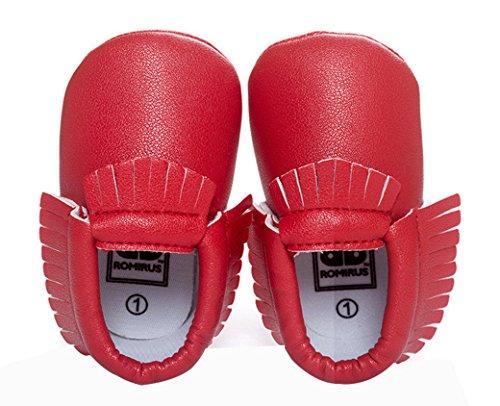 Happy Cherry Zapatos con Borlas Mocasines de PU Piel Suaves Zapatitos Primeros Pasos Calzado Infantil para 9-12 Meses Bebés Niñas Niños Baby Prewalker Shoes Longitud 13cm Talla EU 20-21 Color Caqui Rojo