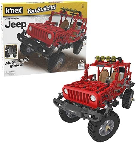 K'NEX Jeep Wrangler Building Set – 682 Parts – Authentic Battery Powered Motorized Replica – STEM Toy – Ages 9 & Up, Multi