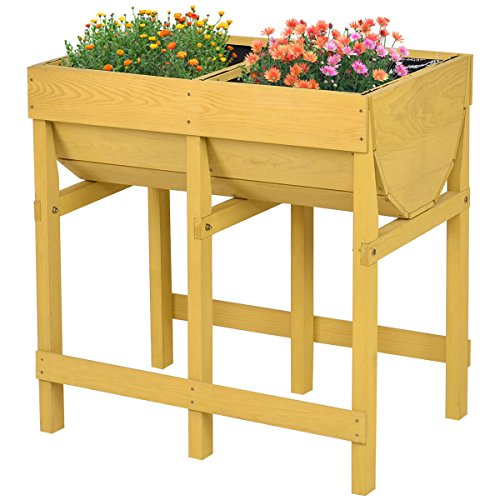 Giantex Raised Wooden V Planter Elevated Vegetable Flower Bed Free Standing Planting(Tawny V Planter)
