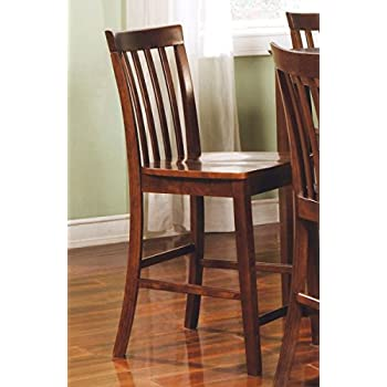 Amazon Com Rich Walnut Counter Height Chairs Set Of 2 By