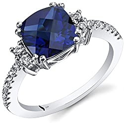 White Gold Blue Sapphire Ring with White Topaz
