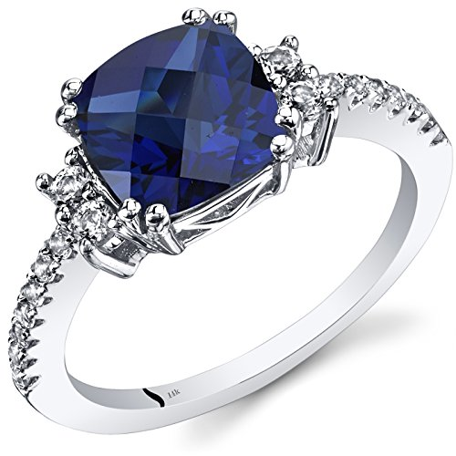14K White Gold Created Sapphire Ring Cushion Checkerboard Cut 3.00 Carats Size 7 (Sapphire Ring Lab Created)