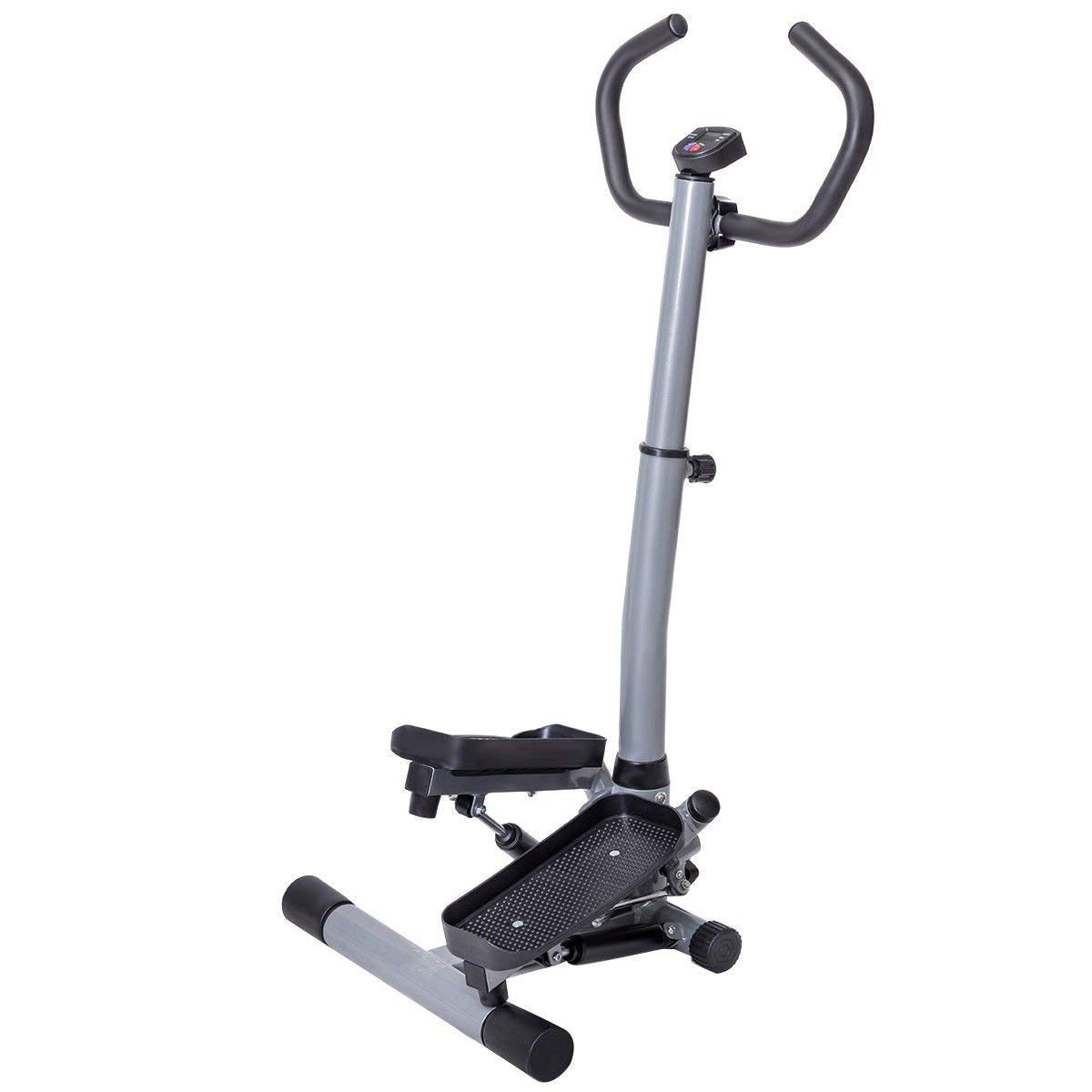 GYMAX Step Machine, 2 in 1 Twister Stepper Stair Climber with LCD Display and Handle Bar, for Fitness Cardio Exercise Workout by GYMAX (Image #1)