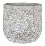 Sagebrook Home-Floral Embossed Flower Pot, Sand, 19'' X 19'' X 18'', 19'' x 19'' x 18''