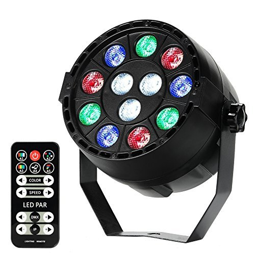 LITAKE Par Lights, Remote Control Stage Lighting, RGBW 12 LED Color Mixing DJ Lights with DMX, Strobe & Sound Active Mode for Disco, Party, Wall Wash and Christmas -