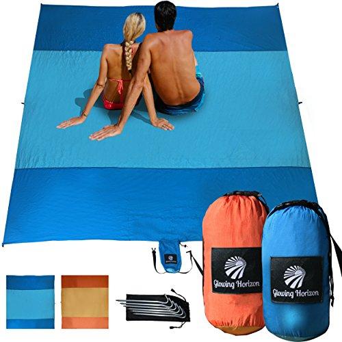 Glowing Horizon Sand Free Beachsheetz or Picnic Blanket Extra Large 9 x 10 in Compact Storage Bag- 8 Hidden Pockets + Metal Stakes, Lightweight, Parachute Nylon, Oversized Outdoor Rug / Beach Mat