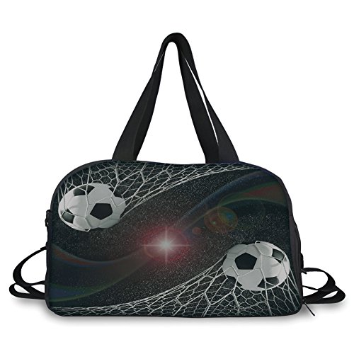 iPrint Travel handbag,Teen Room Decor,Soccer Balls Goal Match Success Concept in Outer Space Winner Glory Theme,Multicolor ,Personalized by iPrint