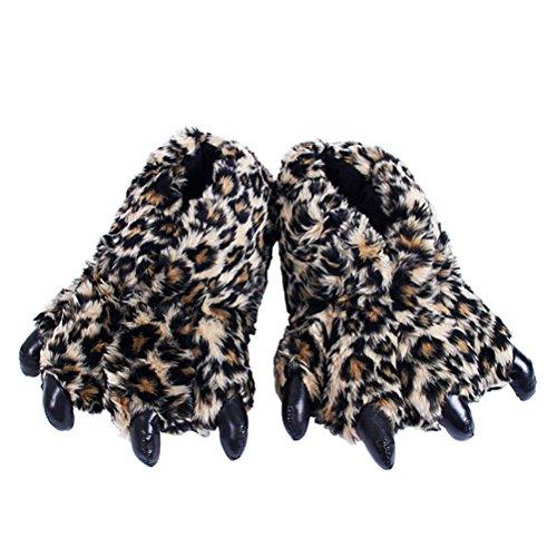 Bear Paw Footwear - Odowalker Monster Slipper Adults Unisex Soft Christmas Gift Slippers Furry 3D Animal Feet Bear Paw Winter Shoes (1 Pair) (Leopard)