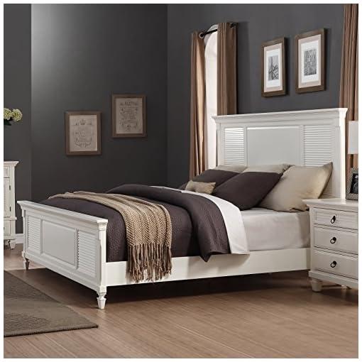 Roundhill Furniture Regitina 016 White Queen Bed, Dresser, Mirror 2  Nightstands, Chest Bedroom Furniture Set,