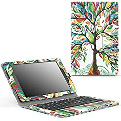 MoKo Keyboard Case for Fire HD 8 2016 Tablet - Wireless Keyboard Cover with Auto Wake / Sleep for Amazon Fire HD 8 (Previous 6th Generation - 2016 Release ONLY), Lucky Tree