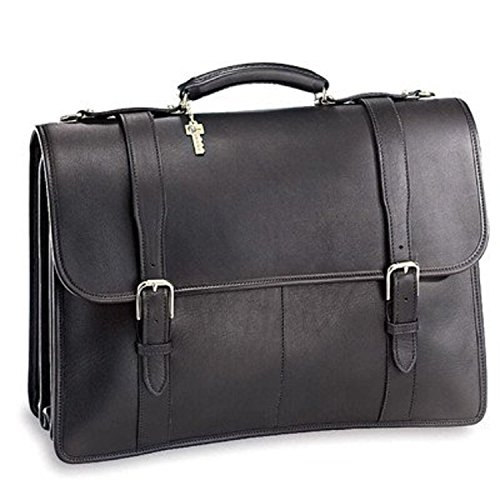 Jack Georges University Triple Gusset Flap-Over Leather Briefcase in (Leather Triple Gusset Flap)