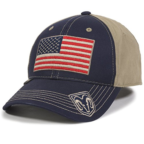 Outdoor Cap Unisex-Adult American Flag Truck Cap, Navy/Khaki, Adult
