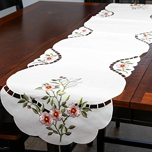 Gorgeous Eyelet (Home-X Embroidered Floral Table Runner.)