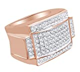 Round Shape White Cubic Zirconia Hip Hop Band Ring In 14k Rose Gold Over Sterling Silver Ring Size-12