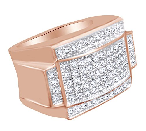 AFFY Round Shape White Cubic Zirconia Hip Hop Band Ring In 14k Rose Gold Over Sterling Silver Ring Size-10 by AFFY