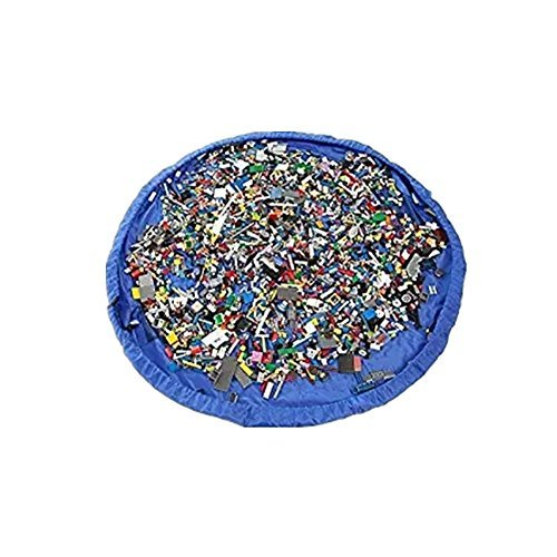 Children Play Mat and a Toy Storage Bag Multi Purpose Kid's Activity Mat Portable Fold Toy Organizer. (60'' in diameter, Nylon Blue) by Hever