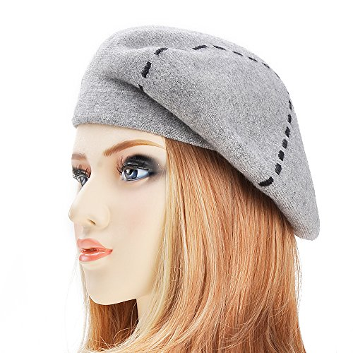 ZLYC Womens Reversible Cashmere Beret Hat Double Layers French Beret, Gray