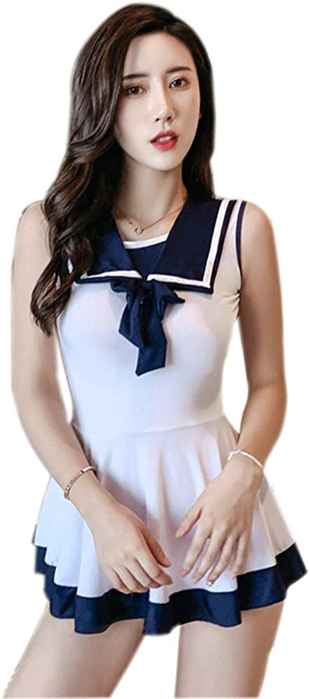 Naughty Womens School Student Uniform Shirt Top Skirt Outfit Fancy Party Cosplay