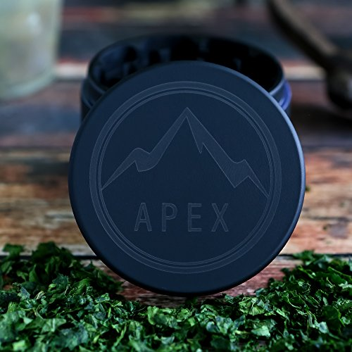 Soft Touch Limited Edition Matte Black Apex Herb Grinder Top Rated 2.5 Inch 4 piece with Pollen Catcher by Apex (Image #5)