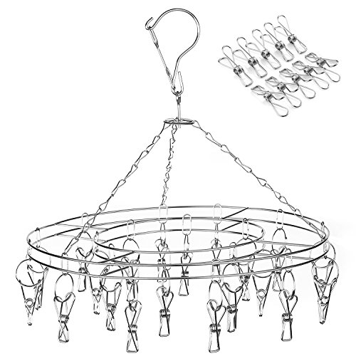 Amagoing Hanging Drying Rack Laundry Drip Hanger with 20 Clips and 10 Replacement for Drying Socks, Baby Clothes, Bras, Towel, Underwear, Hat, Scarf, Pants, Gloves
