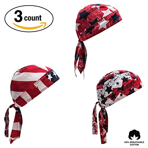 Elephant Brand Doo Rag 100% Cotton - Skull Cap Beanie for Cycling - Head Wrap Pack of 3 (Flag)
