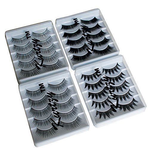 20 Pairs Strip False Eyelashes Extensions Bulk Pack by Kurtzy - Natural, Long, Thick and Black Plastic Lashes - Curled Strip Lashes for Easy Application - Reusable - Glue not Included - Complete Kit (Dramatic Cat Eye Makeup Halloween)