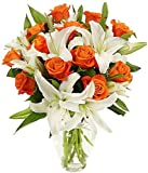 Benchmark Bouquets Orange Roses & White Oriental Lilies, With Vase Deal