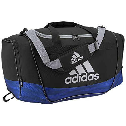 adidas Defender II Medium Duffel Bag, One Size, Black/Blue Ratio/Grey