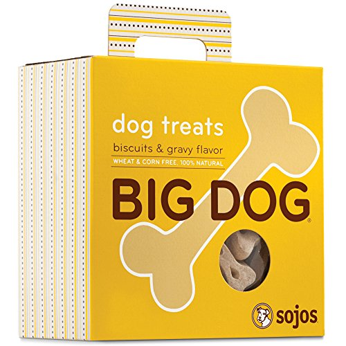 - Sojos Big Dog Crunchy Natural Large Dog Treats, Biscuits & Gravy, 12-Ounce Bag
