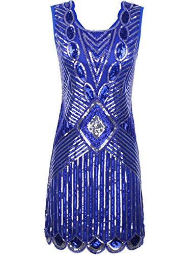 [PrettyGuide Women's 1920s Gatsby Sequin Art Deco Scalloped Hem Inspired Flapper Dress S Blue] (Blue Flapper Dress)