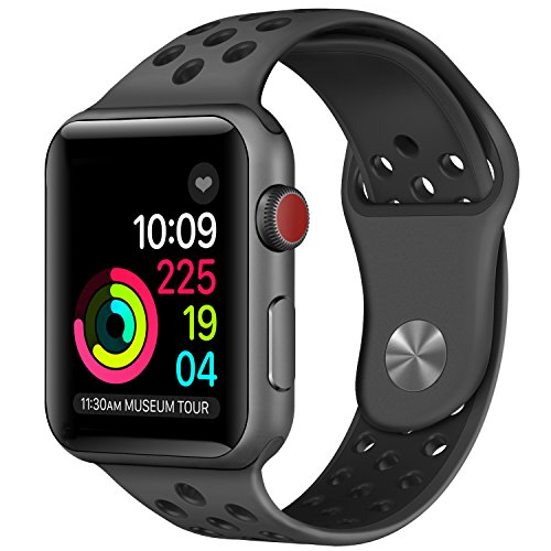 Price comparison product image Apple Watch Band , Soft Silicone Sport Replacement Strap for Apple iWatch Series 1 2 3 Sport & Edition (Anthracite/Black 42mm M/L)
