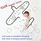 Baby Muslin Swaddle Blanket Cotton Monthly Milestone Photography Background Prop with Knit Hat Wreath Frame First Year Growth Photo Shoots Props Bedding Wrap Shower Gift for Newborn Boy Girl (Plane)