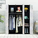 KOUSI Portable Clothes Closet Modular Wardrobe Freestanding Storage Organizer with doors, large space and sturdy construction, Black-12 cube