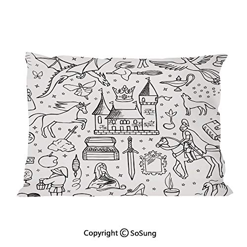 Doodle Bed Pillow Case/Shams Set of 2,Prince Charming and Castle Pirncess Inspired Romance Drawing Knights Dragons Swords Decorative King Size Without Insert (2 Pack Pillowcase 36