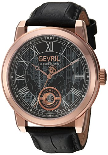 Gevril Men's 'Washington' Swiss Automatic Stainless Steel and Leather Casual Watch, Color:Black (Model: 2624L)