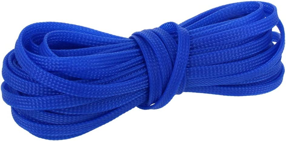 Othmro Adjustable Cable Sleeve-1 PC 6mmx10m Blue PET Cable Management with Flame Retardancy Cable Protector Management Sleeve Cable Wrap for Insulation Protection and Heat Dissipation