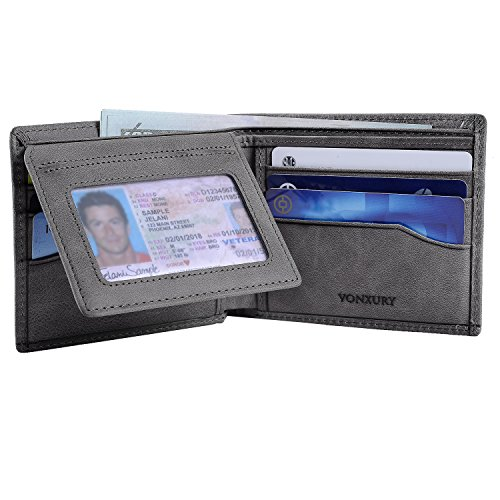 Grey Soft Leather (Premium Leather RFID Wallet for Men Bifold Soft Cowhide Leather Wallet with 8 Card Slots and 2 ID windows)