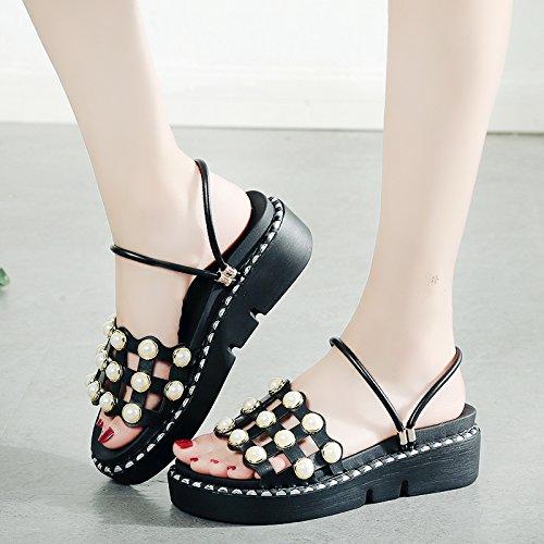 RUGAI-UE Patines de desgaste exterior de Moda Mujer Verano zapatillas remache inferior grueso estudiante mujer zapato Black