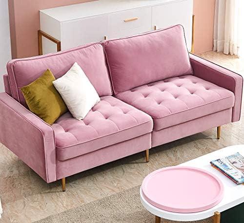 Editors' Choice: Danxee Velvet Fabric Sofa Couch 71″ Wide Mid Century Modern Tufted Fabric Sofa Living Room Sofa 700lb Heavy Duty