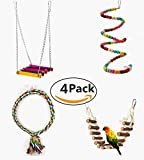 Be Good 4PCS Birds Parrot Toys Set Bungee Climbing Ropes Standing Wooden Perch Ladder and Swing Funny Chew Toys for Small Parakeets Cockatiels Conures Macaws Parrots Love Birds Finches
