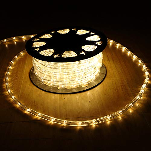 YULIANG 110V 2-Wire Waterproof LED Rope Light Kit for Background Lighting,Decorative Lighting,Outdoor Decorative Lighting,Christmas Lighting,Trees,Bridges,Eaves (50ft/15M) Color Warm White