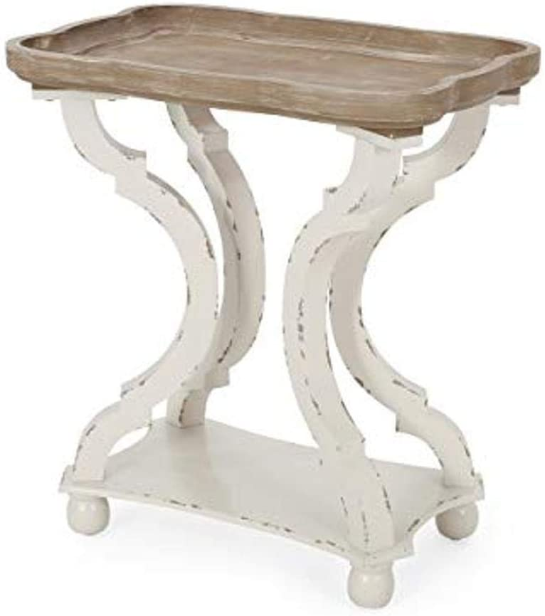 Christopher Knight Home Esther French Country Accent Table with Rectangular Top, Natural + Distressed White