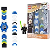 LEGO Star Wars Luke Skywalker Kids Buildable Watch with Link Bracelet and Minifigure | blue/white | plastic | 28mm case diameter| analogue quartz | boy girl | official