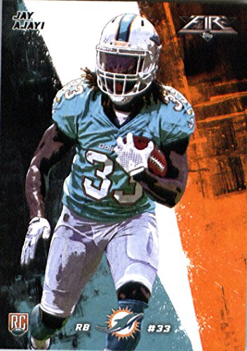 2015 Topps Fire Rookie #50 Jay Ajayi Miami Dolphins Football Rookie Card in Protective Screwdown Display Case