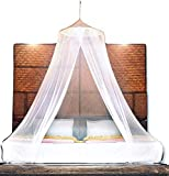 BASIK Nature Luxury Mosquito Net. PAGODA Round Mosquito Netting for Bed Canopy Full / Queen / King Size. Best Bug Nets For Camping Outside. A Thin Mesh Tent To Cover Hammock W/ Natural Protection