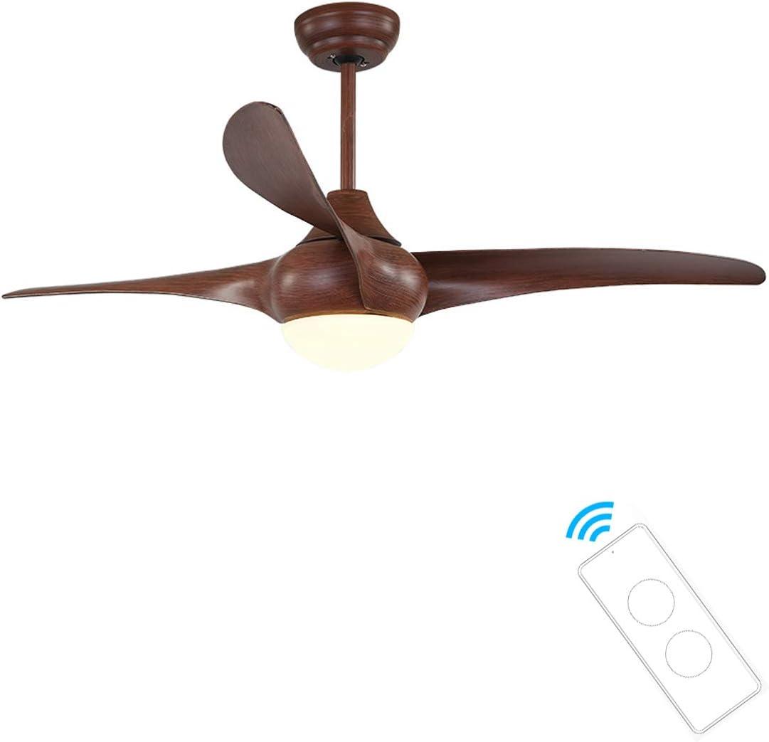Lámpara de Techo LED, Ventilador de techo con luz y mando a distancia, 3 palas, 132 cm de diámetro, 3 velocidades,Marrón